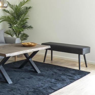 Ławka tapicerowana Belicer 100x35 cm miodowy velvet na czarnych nogach
