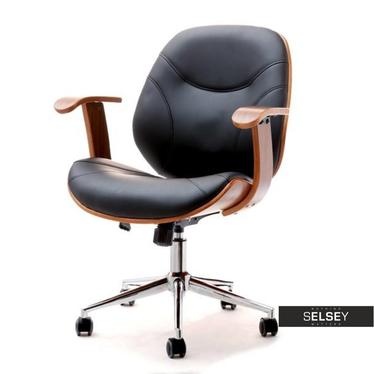 Fotel biurowy Ray orzech czarny z giętego drewna
