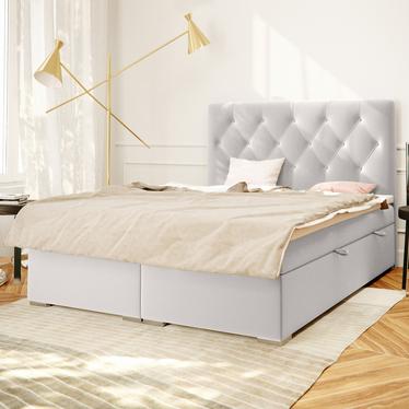 Łóżko kontynentalne Lubekka jasnoszare w tkaninie wodoodpornej