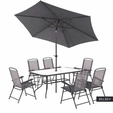 Zestaw ogrodowy Rapasolla stół z sześcioma krzesłami i parasolem szary