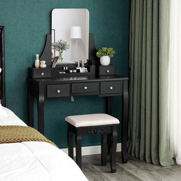 Toaletka Shalow Singuli 80 cm czarna z prostokątnym lustrem i taboretem