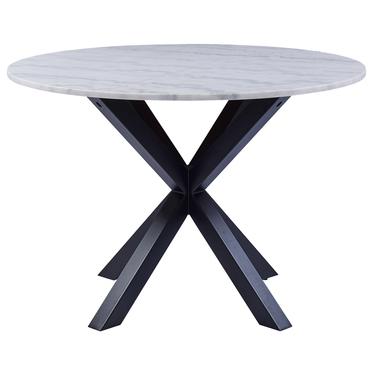Stół do jadalni okrągły Kardema średnica 110 cm biały marmur na czarnych nogach