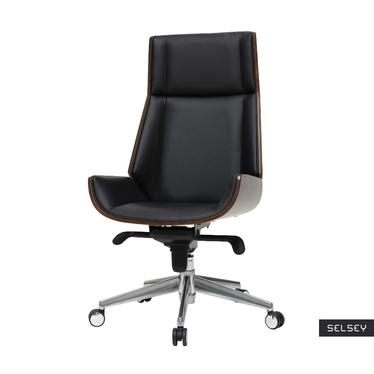 Fotel biurowy Derdive czarna ekoskóra - orzech