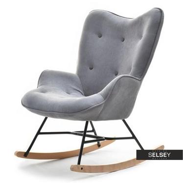 Fotel bujany Sibil grafitowy z guzikami na drewnianych płozach