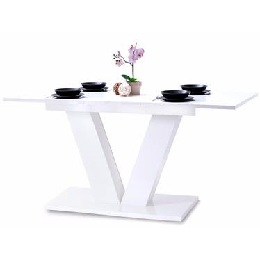 Stół Vendig 138(183)x90 cm biały połysk do jadalni