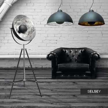 Lampa podłogowa Gravity czarna ze srebrnym wnętrzem 170 cm