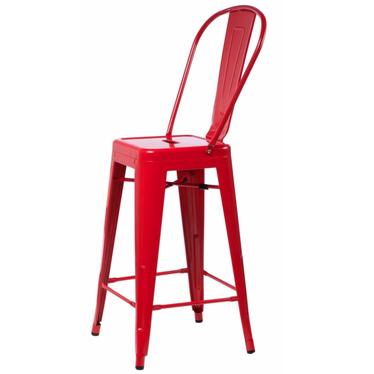 Hoker Paris Back czerwony inspirowany Tolix