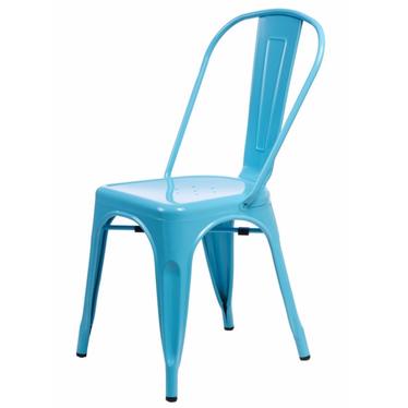 Krzesło Paris niebieskie inspirowane Tolix
