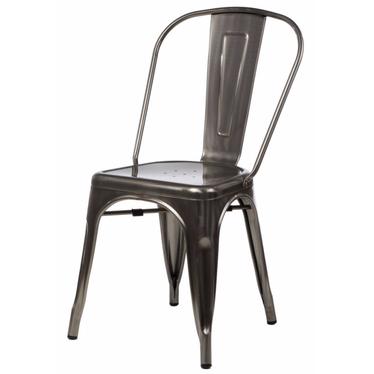 Krzesło Paris w kolorze metalu inspirowane Tolix