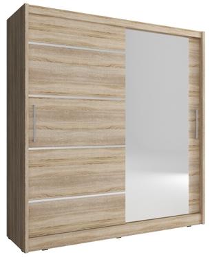 Szafa Elflock z lustrem z boku i aluminiowymi wstawkami
