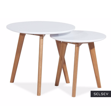 Zestaw stolików kawowych Mediolan biały średnica 50 cm i 40 cm