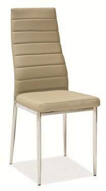 Krzesło Lastad beżowe na błyszczącej podstawie