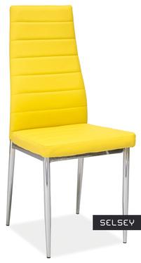 Krzesło Lastad żółte na błyszczącej podstawie