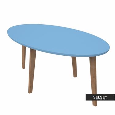 Stolik kawowy Norman 115x65 cm owalny z niebieskim blatem