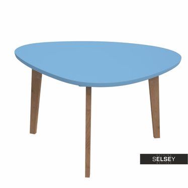 Stolik kawowy Norman 80x70 cm trójkątny z niebieskim blatem