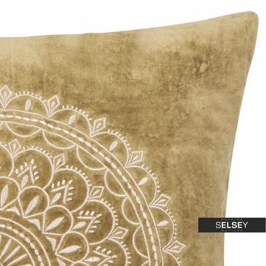 Poduszka z poszewką Preston Velvet oliwkowa 60x60 cm