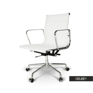 Fotel biurowy inspirowany EAMES 117 biały, siatka mesh + chrom