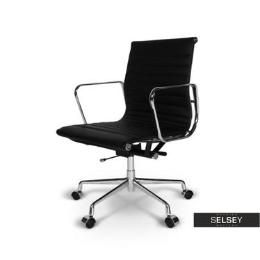 Fotel biurowy inspirowany EAMES 117 czarny, skóra + chrom