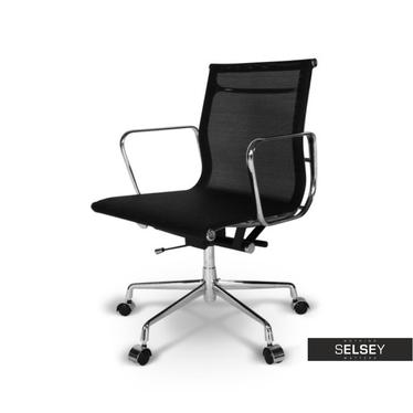 Fotel biurowy inspirowany EAMES 117 czarny, siatka mesh + chrom