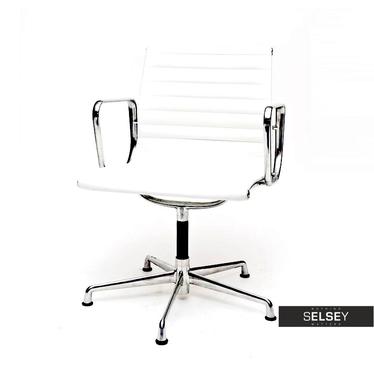 Fotel biurowy inspirowany EAMES 108 biały, skóra + chrom