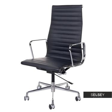 Fotel biurowy inspirowany EAMES 119 czarny, skóra + chrom