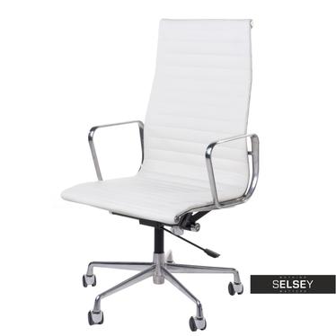 Fotel biurowy inspirowany EAMES 119 biały, skóra + chrom