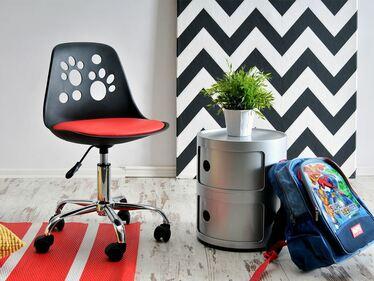 Fotel biurowy Foot czarno - czerwony dziecięcy z regulacją wysokości