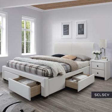 Łóżko tapicerowane Lorki z szufladami