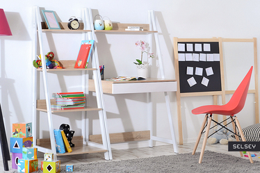 Biurko Dalen biały-sonoma designerska drabina dla dzieci