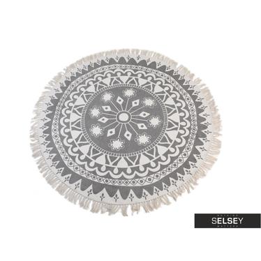 Dywan okrągły z frędzlami jasny wzór średnica 150 cm wzór 3