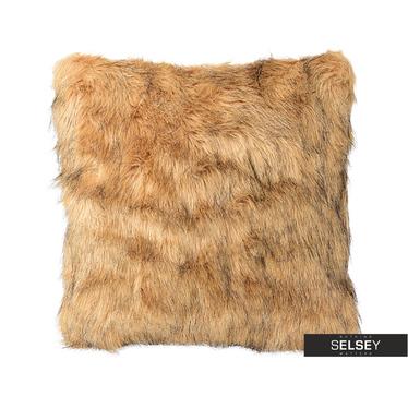 Poduszka z poszewką Furry jasnobrązowa 45x45 cm