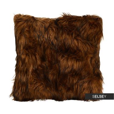 Poduszka z poszewką Furry ciemnobrązowa 45x45 cm