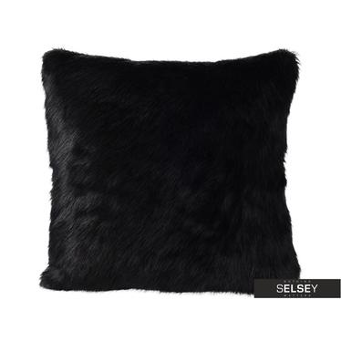 Poduszka z poszewką Furry czarna 45x45 cm