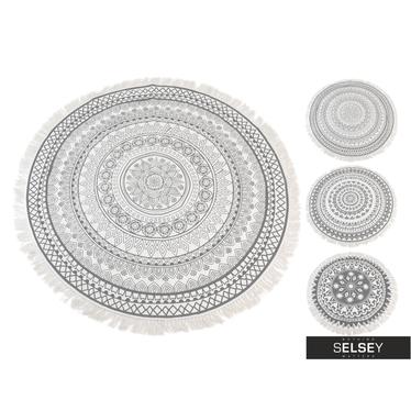 Dywan okrągły z frędzlami jasny wzór średnica 150 cm