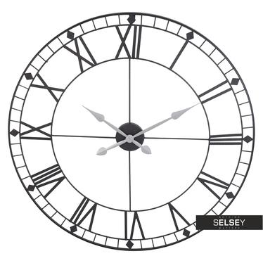 Stylowy zegar ścienny metalowy średnica 88 cm czarny