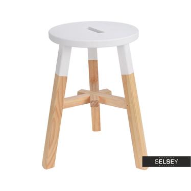 Stołek Yuna biały drewniany
