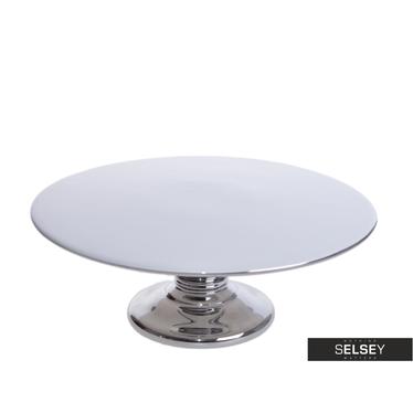 Patera biało - srebrna średnica 26 cm