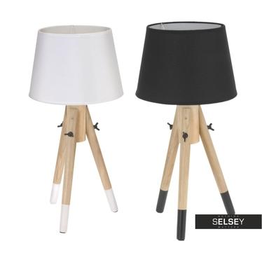 Lampa stojąca drewniana z abażurem 49 cm