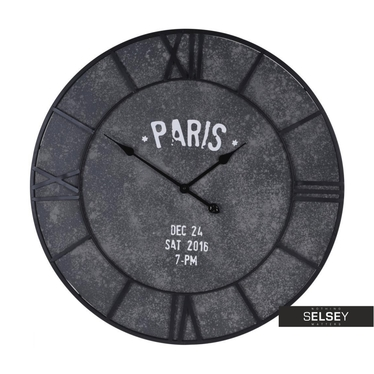 Zegar Paris w kolorze betonu średnica 75 cm