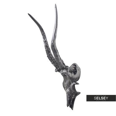 Dekoracja ścienna Szkielet głowy koziorożca 34 cm nikiel
