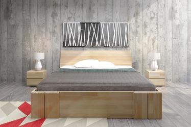 Łóżko Loke z drewna bukowego z czterema szufladami