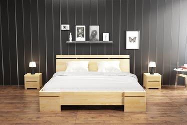 Łóżko Lopar z drewna sosnowego z pojemnikiem na pościel