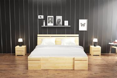 Łóżko Lopar z drewna sosnowego z czterema szufladami