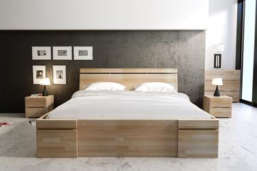 Łóżko Lopar z drewna bukowego z czterema szufladami