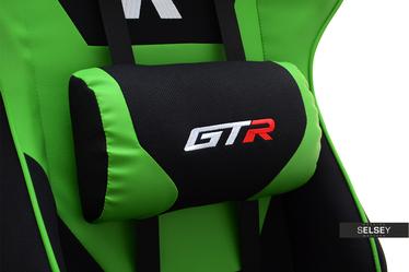 Fotel gamingowy Racer GTR czarno - zielony z poduszkami