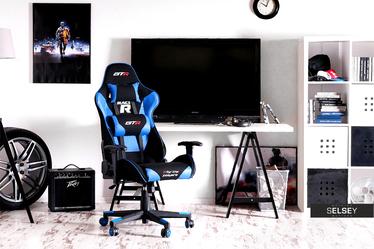 Fotel gamingowy Racer GTR czarno - niebieski z poduszkami