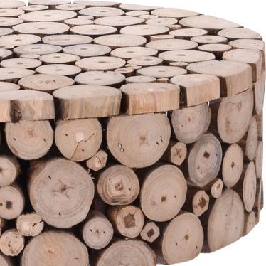 Stolik kawowy Teak średnica 36 cm na drewnianych nogach