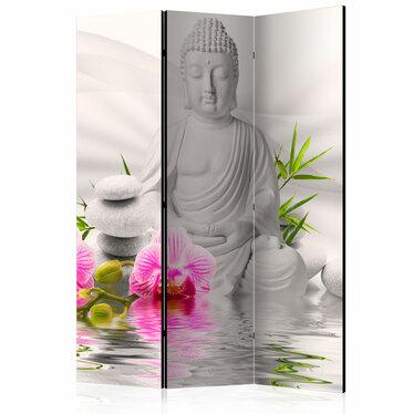 Parawan 3-częściowy - Budda i orchidee