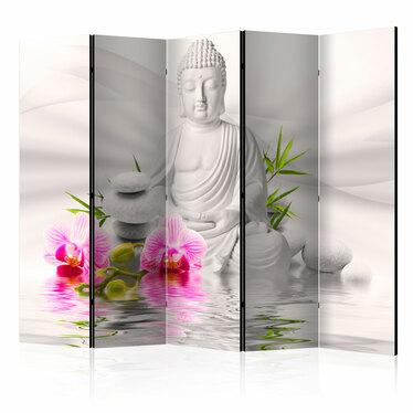 Parawan 5-częściowy - Budda i orchidee