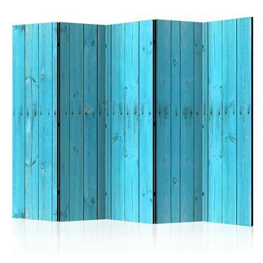 Parawan 5-częściowy - Niebieskie deski